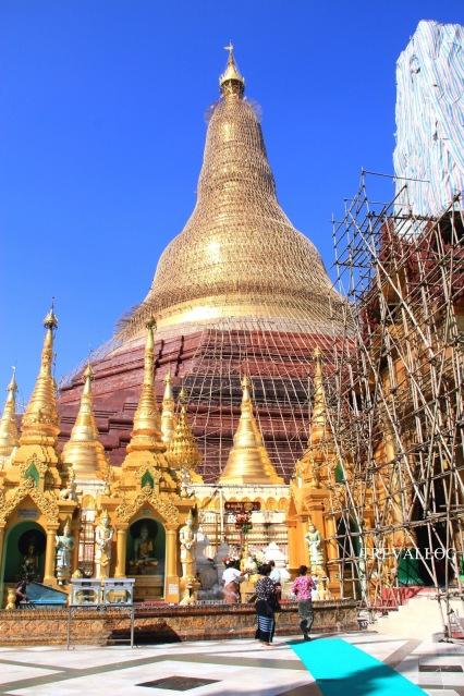 Shwedagon Pagoda under restoration