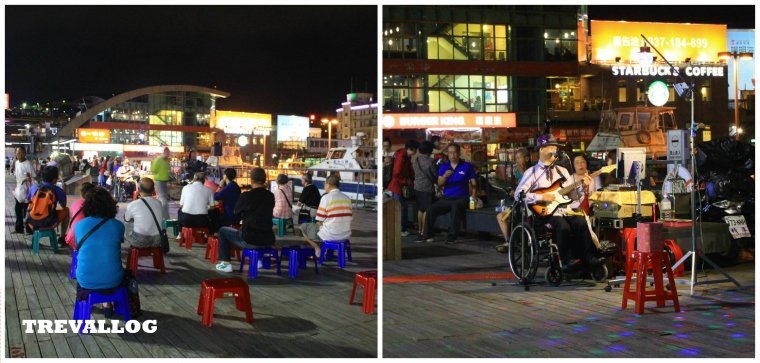 Performance at Keelung Harbor at night, Taiwan