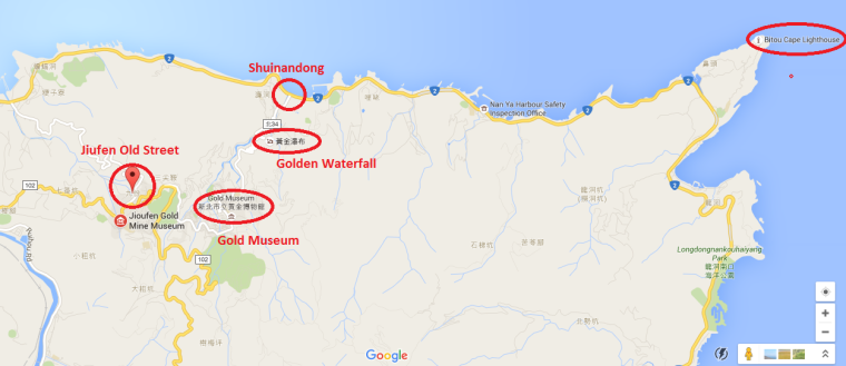 Jiufen and surrounding on Google Maps