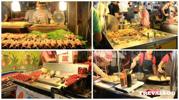 Food Stalls in Miaokou Night Market, Keelung, Taiwan