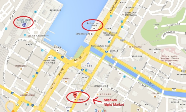 Location of Miaokou Night Market, Keelung, Taiwan