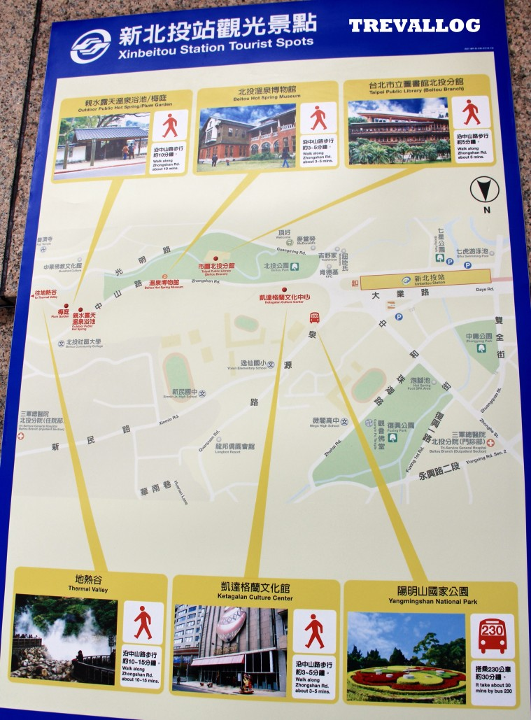 Map of Xinbeitou area in Taipei, Taiwan