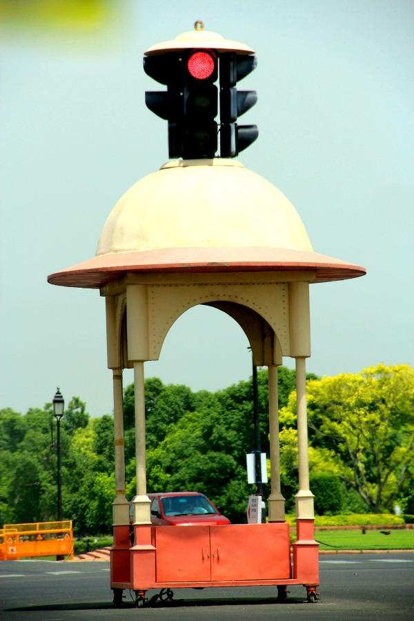 Traffic light in New Delhi, India