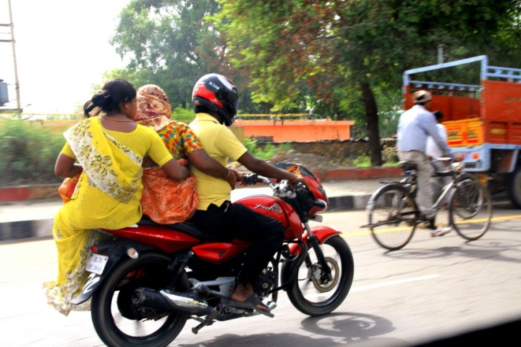 Motorcyclist in New Delhi, India