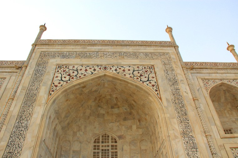 Calligraphy and floral details of marble at Taj Mahal, Agra, India
