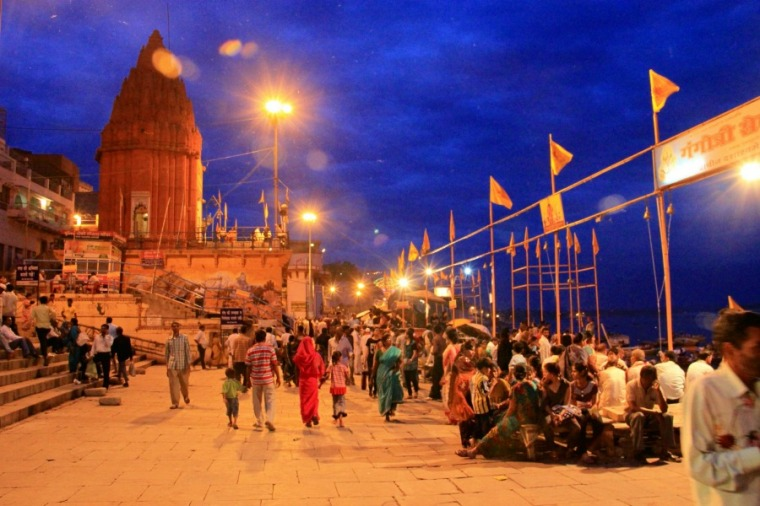 Night crowd at Varanasi Ghats, India