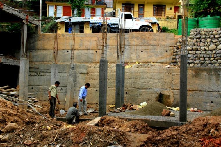 Construction at McLeod Ganj, Dharamsala, India