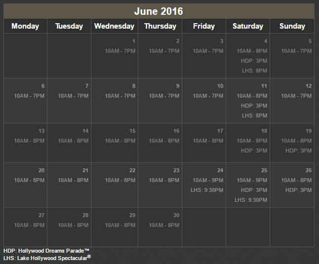 USS Calendar for opening hour and special events, Universal Studios Singapore