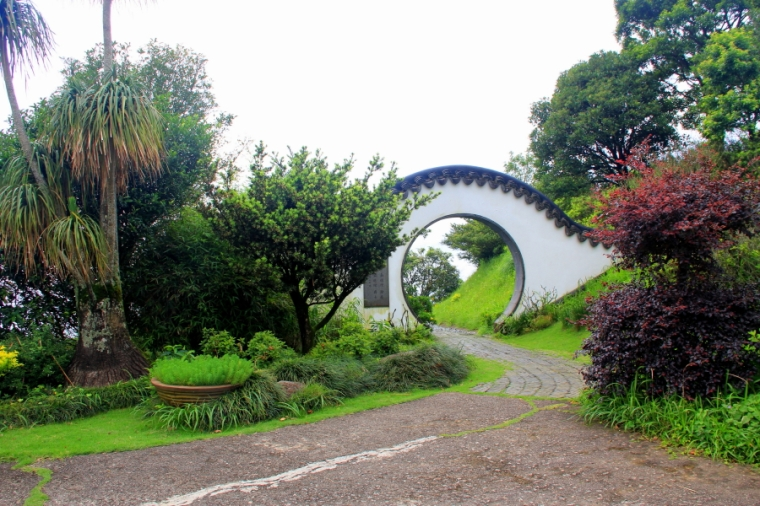 Moon gate entrance to Kadoorie Brothers Memorial Pavilion at Kadoorie Farm & Botanic Garden, Hong Kong