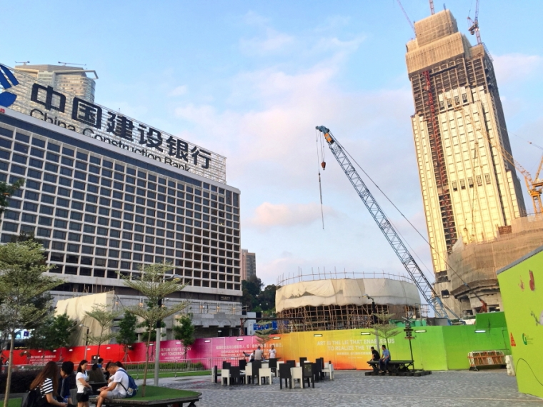 Construction is ongoing at Tsim Sha Tsui, Hong Kong