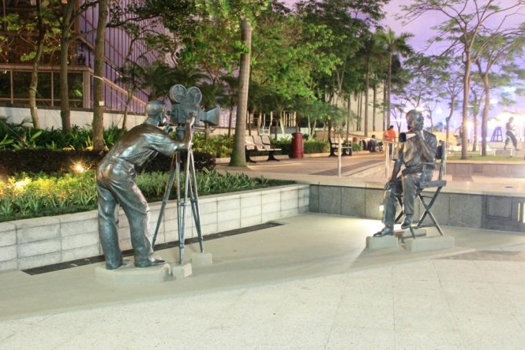 Filming in progress sculpture at Garden of Stars, Tsim Sha Tsui, Hong Kong