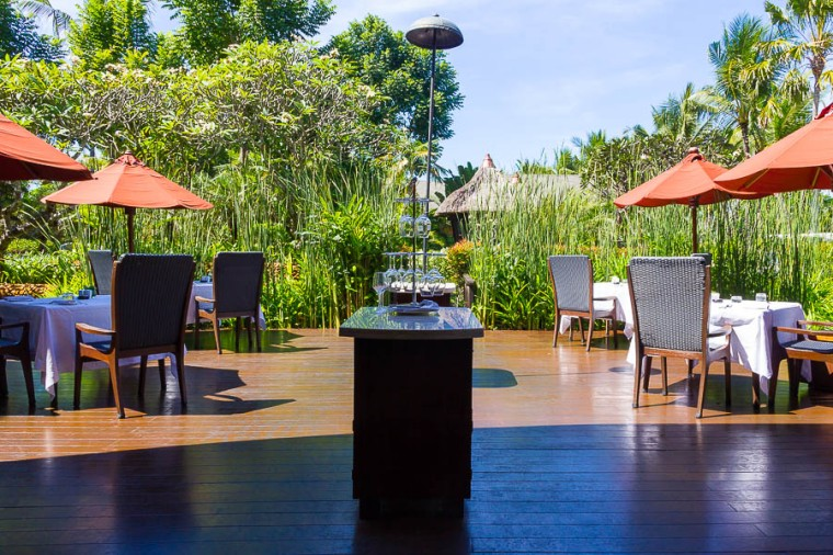 Outdoor seating at Gourmand Deli, St Regis Resort, Nusa Dua, Bali
