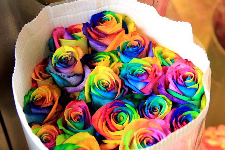 Rainbow roses, Flower Market, Hong Kong
