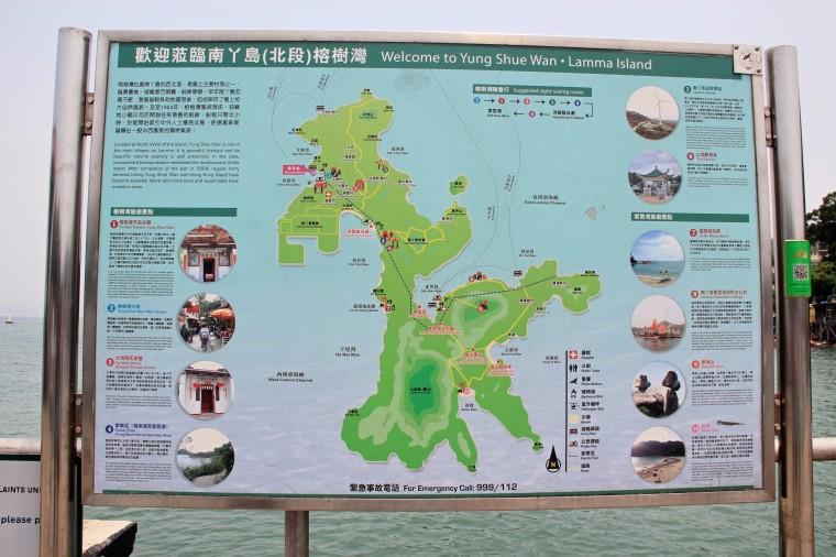 Map of Lamma Island, Hong Kong