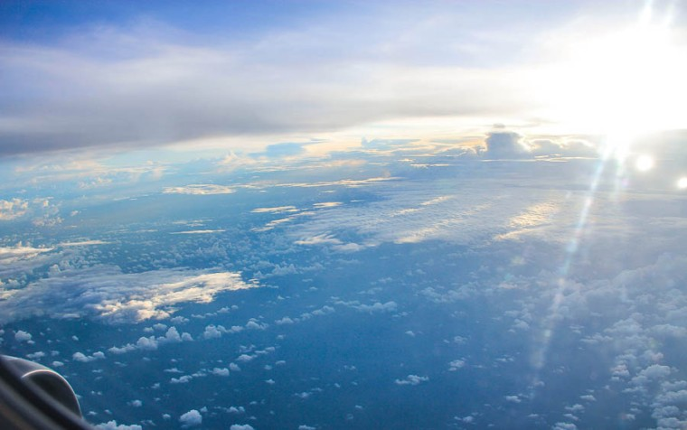 Sunrise plane view, flight to Bali