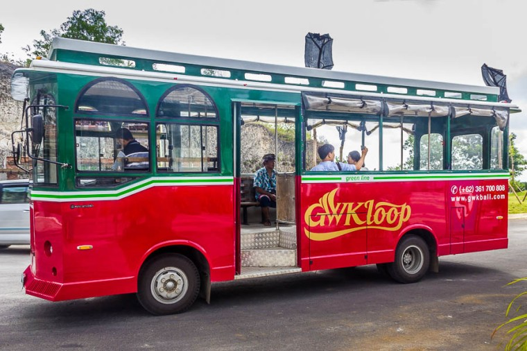 Shuttle bus to bring visitors from ticket counter to the entrance at Garuda Wisnu Kencana GWK, Bali