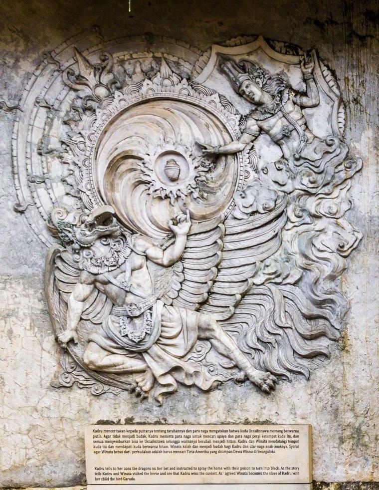 Carvings on the wall at Garuda Wisnu Kencana GWK, Bali