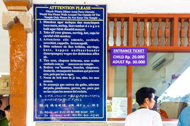 Ticket counter at Uluwatu Temple, Bali