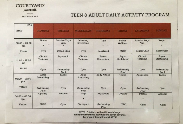 Fitness class timetable, gym, Courtyard Marriott Nusa Dua Bali