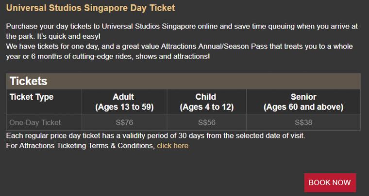 USS one-day pass ticket price