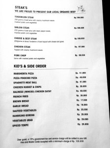Cafe Wayan Menu - Steaks, Kids