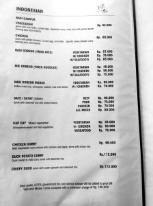 Cafe Wayan Menu - Indonesians