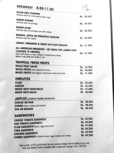 Cafe Wayan Menu - Breakfast