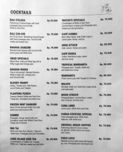 Cafe Wayan Menu - Cocktails