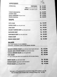 Cafe Wayan Menu - Appetizers