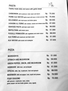 Cafe Wayan Menu - Pastas, Pizzas