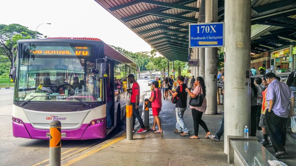 Bus 170x, cw1 from kranji singapore to johor bahru