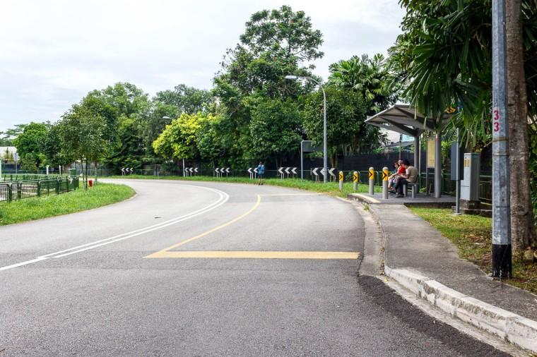Bus 925 stop at Sungei Buloh Wetland Reserve, Kranji Countryside, Singapore