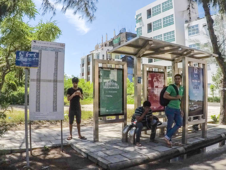bus stop 2 in hulhumale for airport shuttle bus
