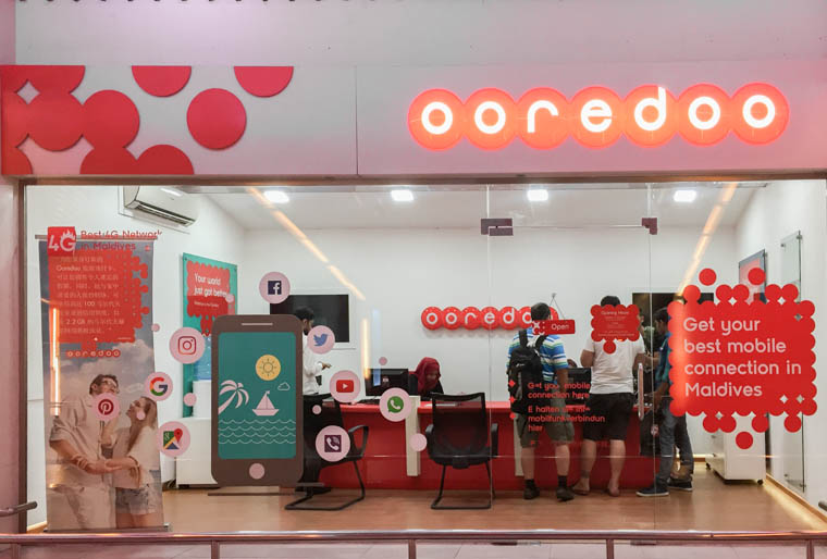 male airport, maldives sim card, maldives ooredoo shop